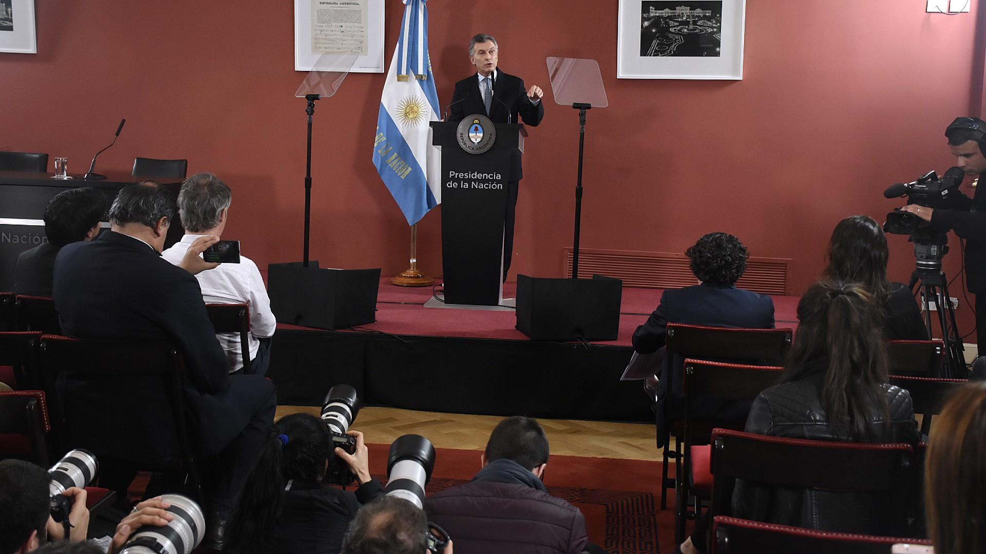 El presidente Mauricio Macri, en septiembre del 2018, en su último anuncio sobre la pobreza, en Casa Rosada (Nicolas Stulberg)