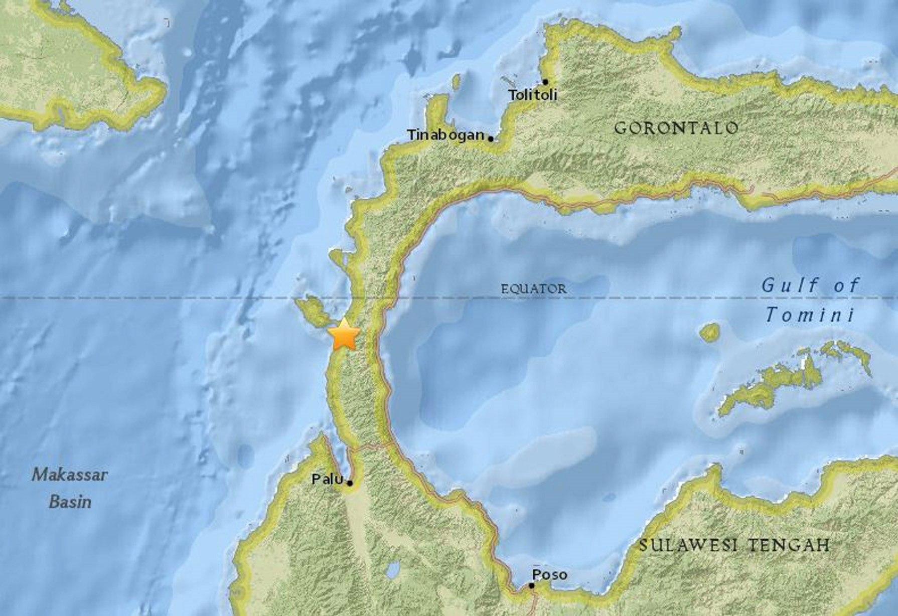 Imagen de un mapa que muestra el epicentro del terremoto de magnitud 6,1 que sacudió la isla de Célebes, situada en el norte de Indonesias.