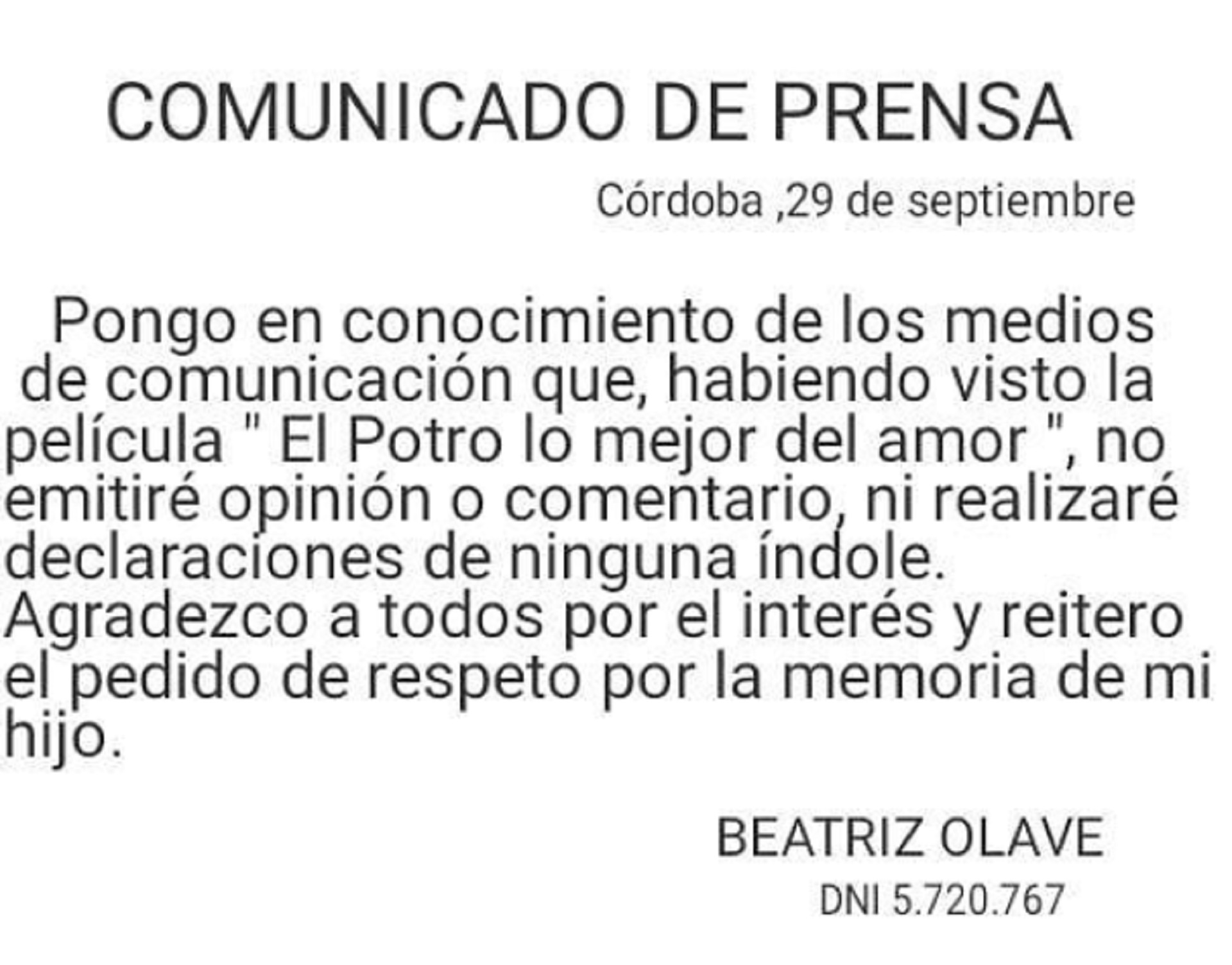 El comunicado oficial de Betty Olave