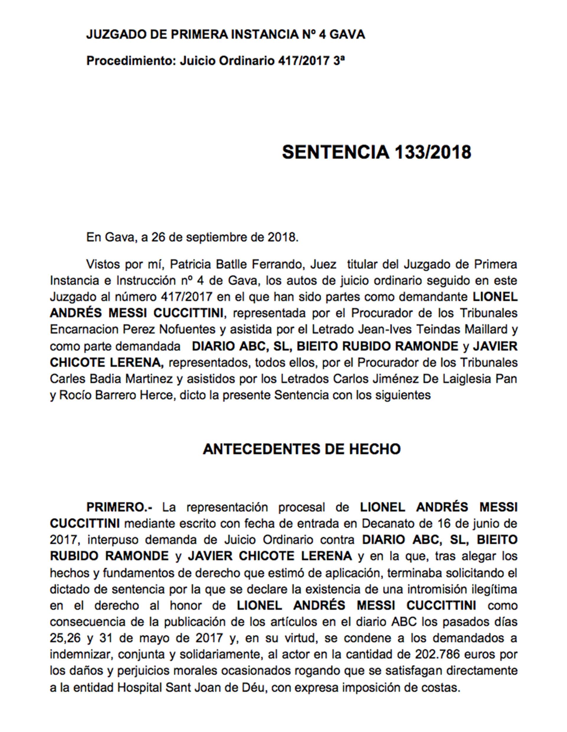 Fallo contra Fundacion Leo Messi_PRIMERA HOJA