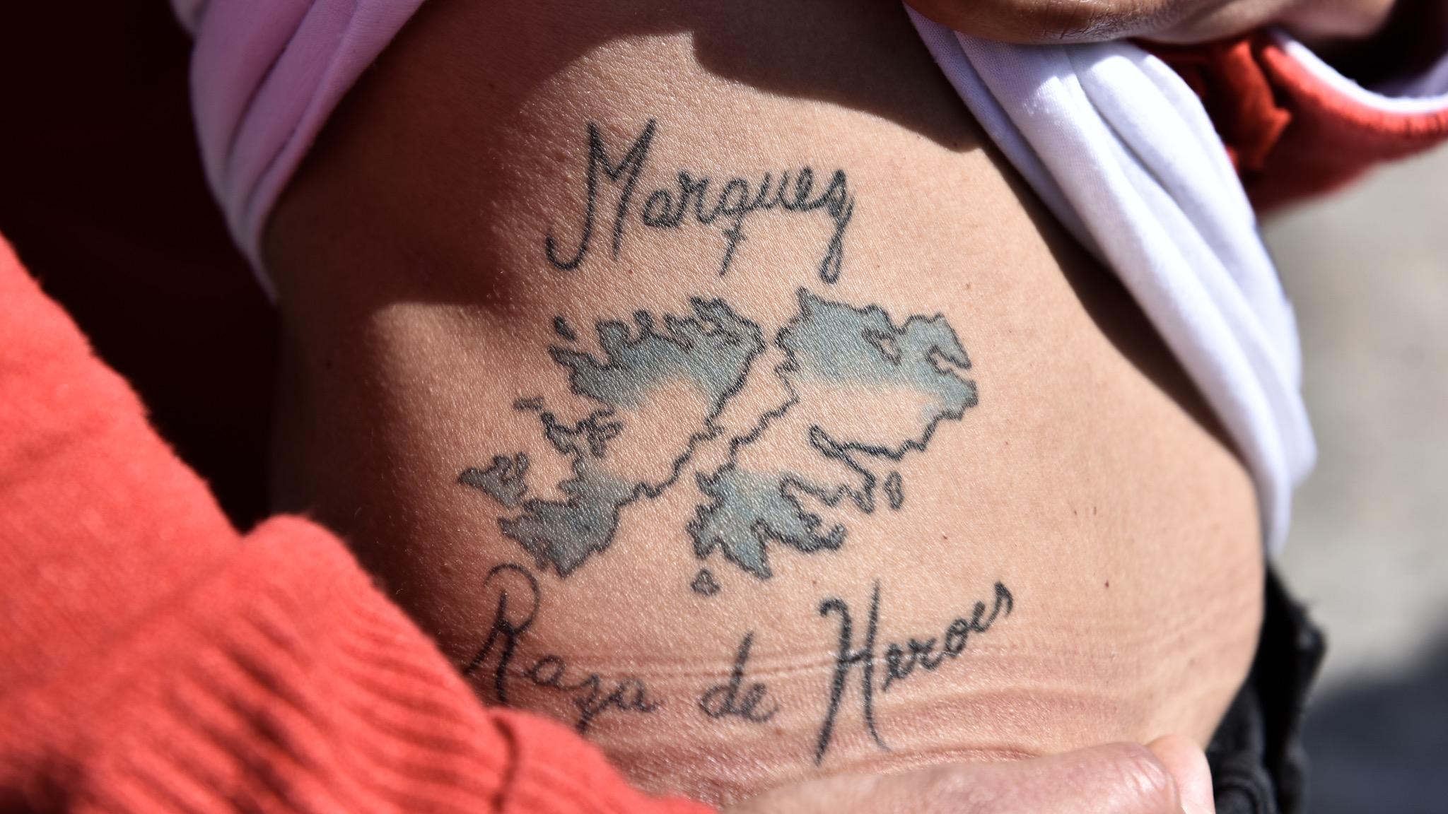 Las islas Malvinas tatuadas en la piel de la sobrina de Márquez (Adrián Escandar)