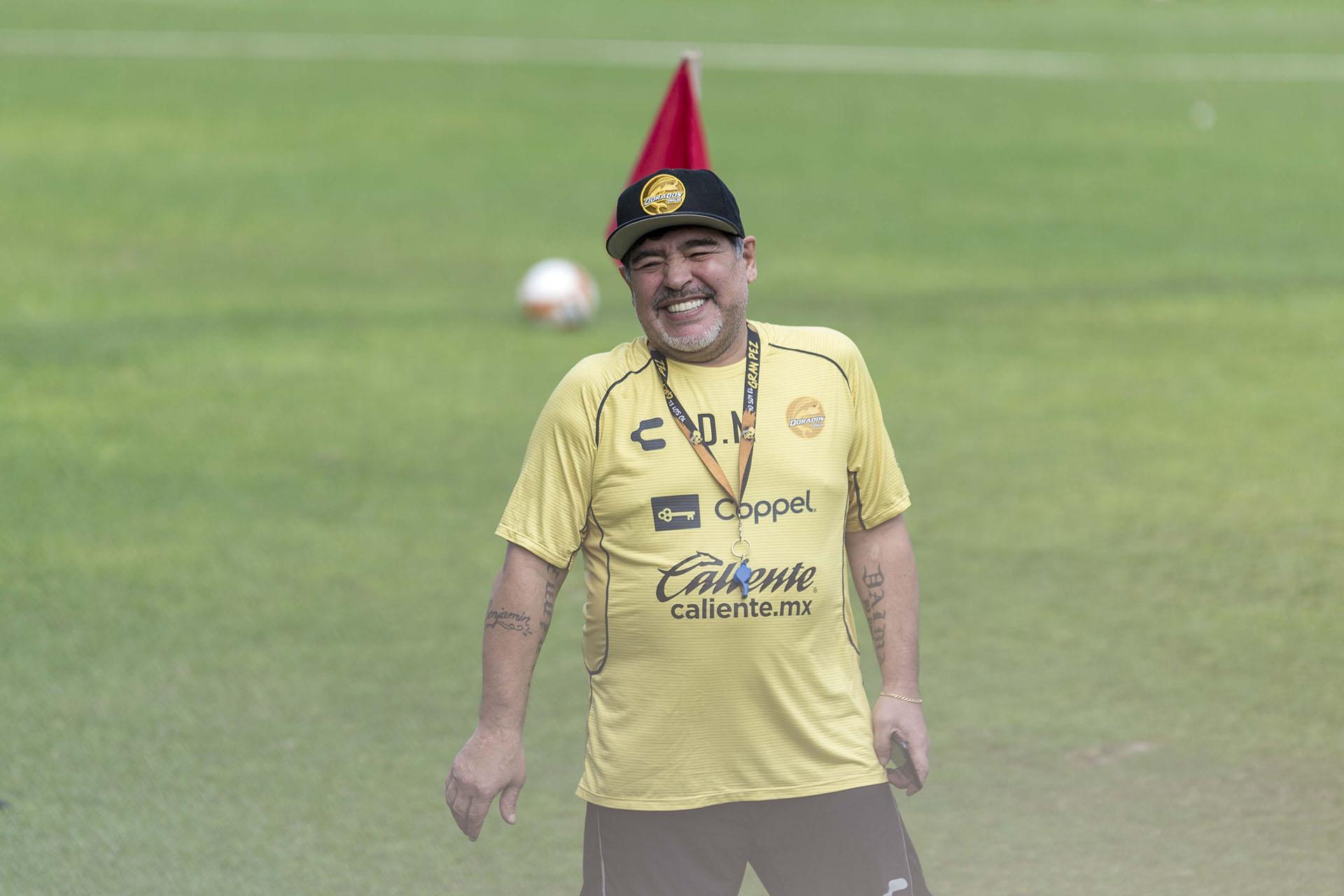 Diego Maradona en un entrenamiento de Dorados (Héctor Parra)