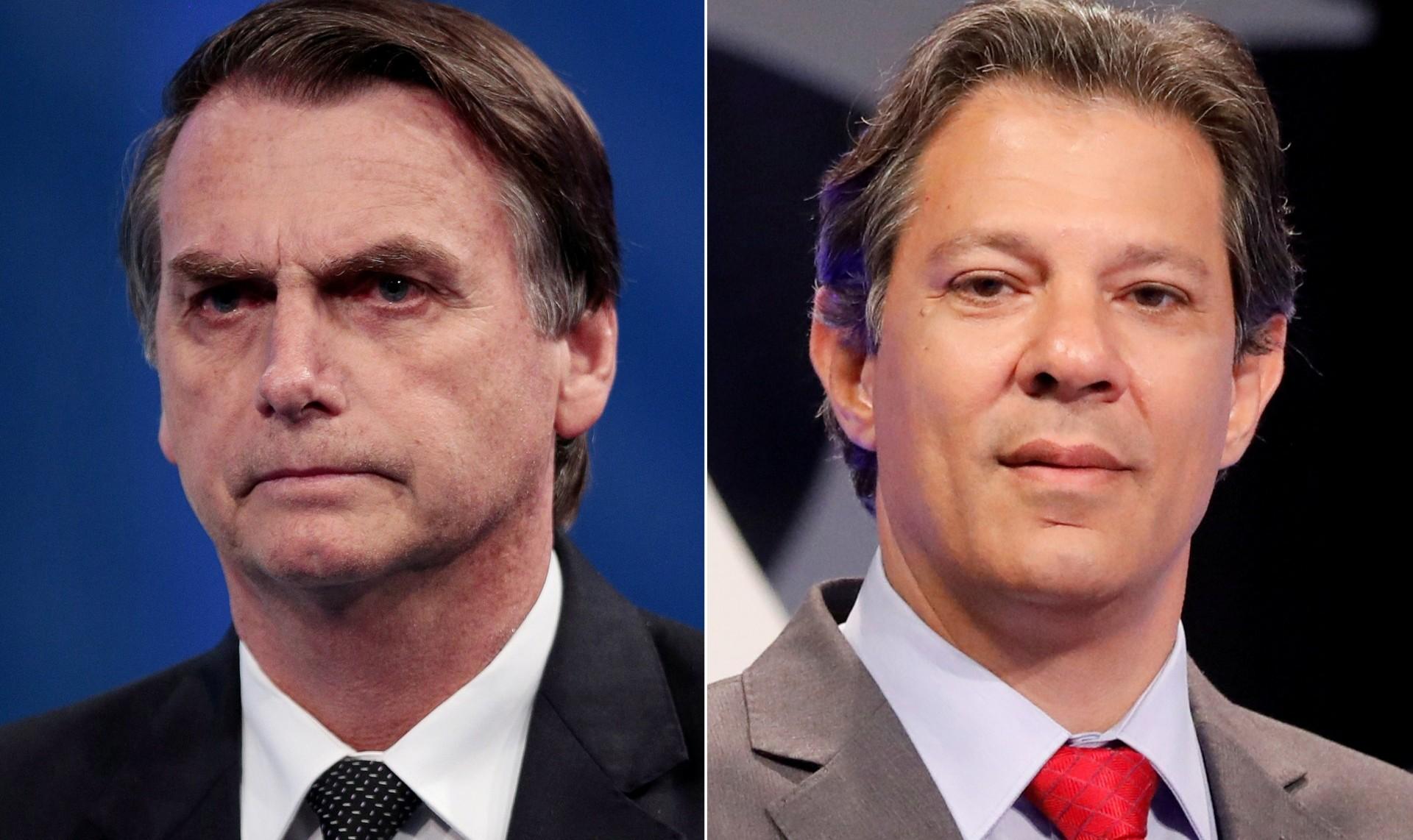 Jair Bolsonaro y Fernando Haddad (Reuters)