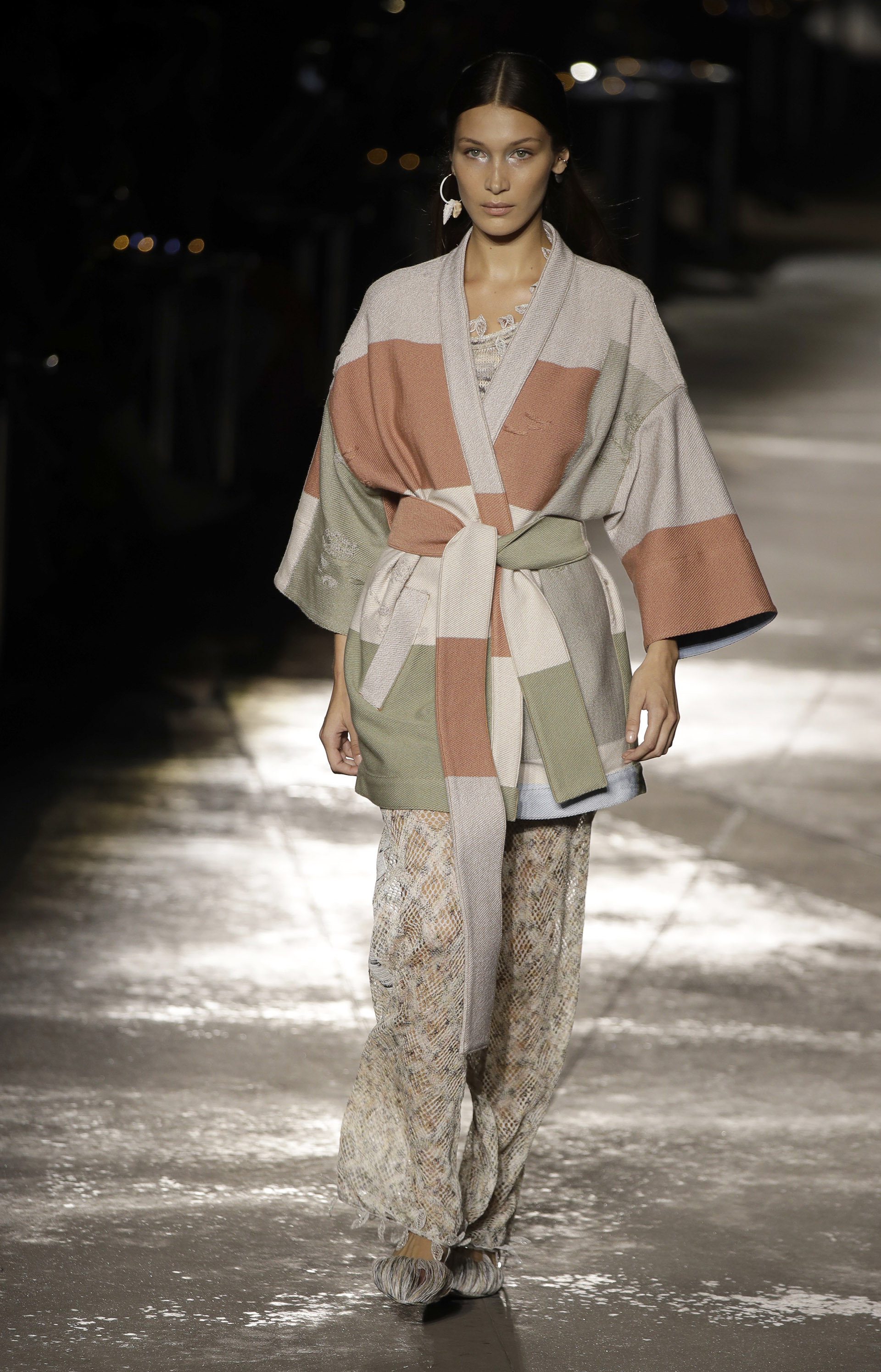 1fbeef597c Model Bella Hadid wears a creation as part of the Missoni women's 2019  Spring-Summer