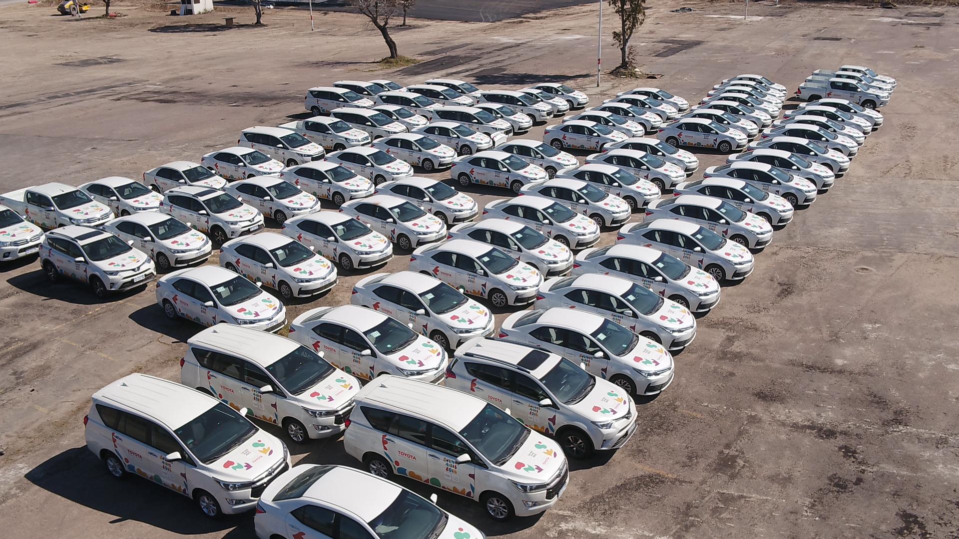 La flota de 334 vehículos Toyota que se encarga de la movilidad en los Juegos Olímpicos de la Juventud.