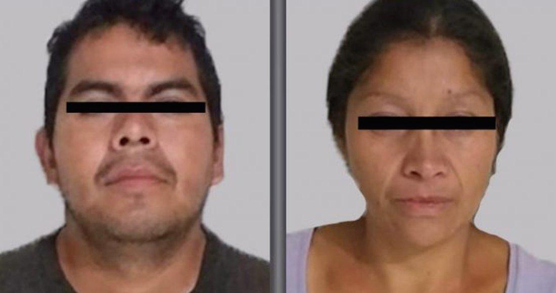 La pareja detenida en la colonia Jardines de Morelos en el municipio de Ecatepec