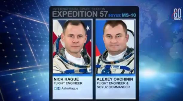Los astronautas estadounidense Nick Hague y ruso Alexéi Ovichinin aterrizaron este 11 de octubre del 2018, en Kzajistán, tras un fallo en el cohete. Foto: Captura Twitter NASA