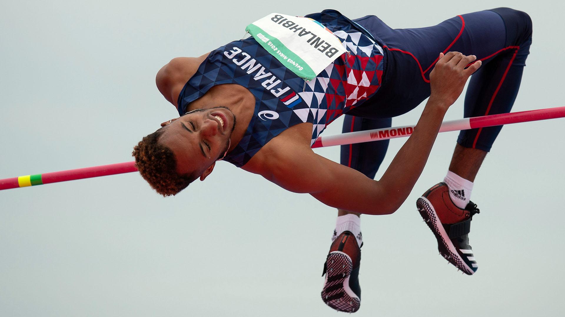 El francés Mohammed-Ali Benlahbib, en la competencia de salto en alto