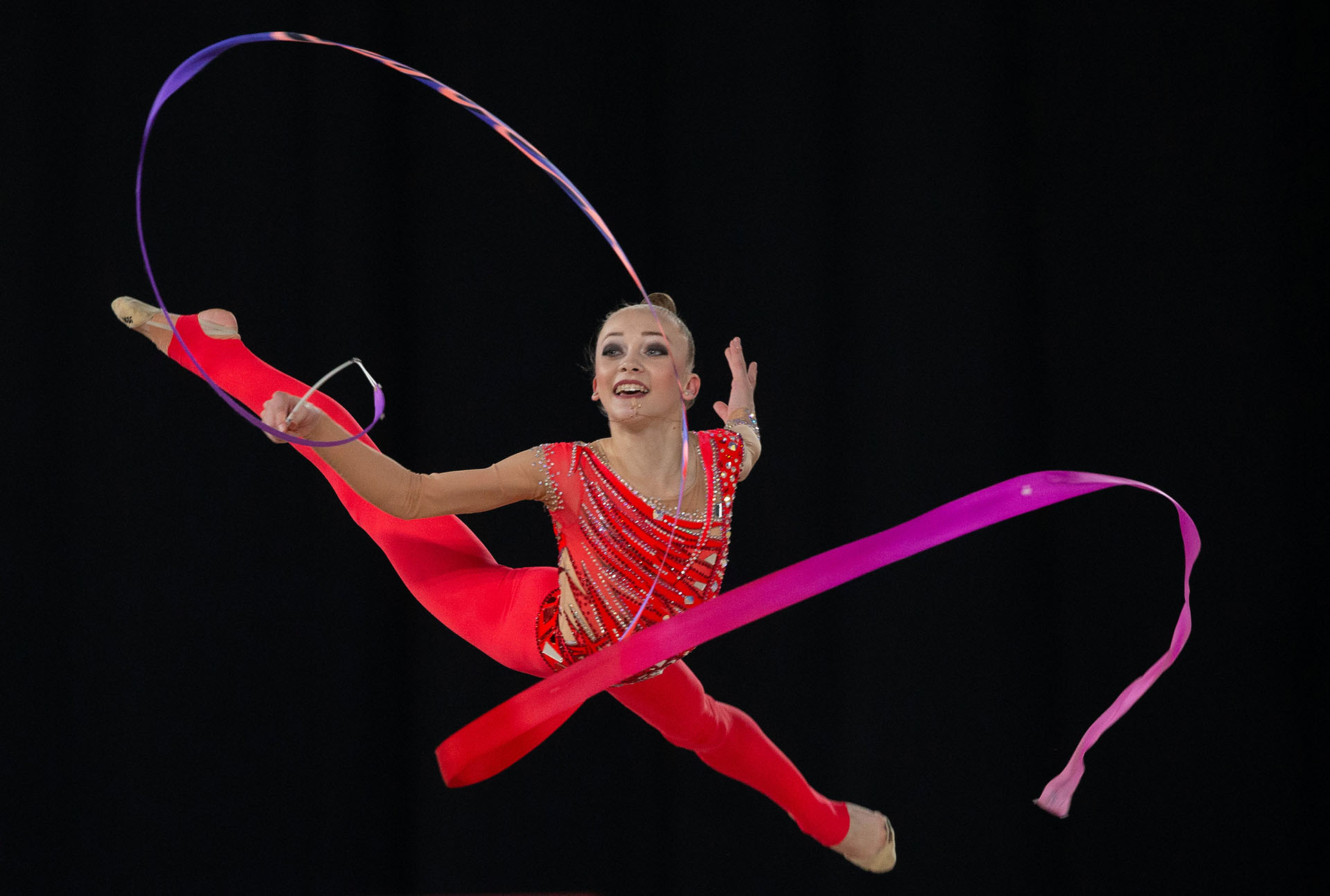 Khrystyna Pohranychna y su impactante rutina de gimnasia rítmica (Foto: Ivo Gonzalez para OIS/IOC/Handout)