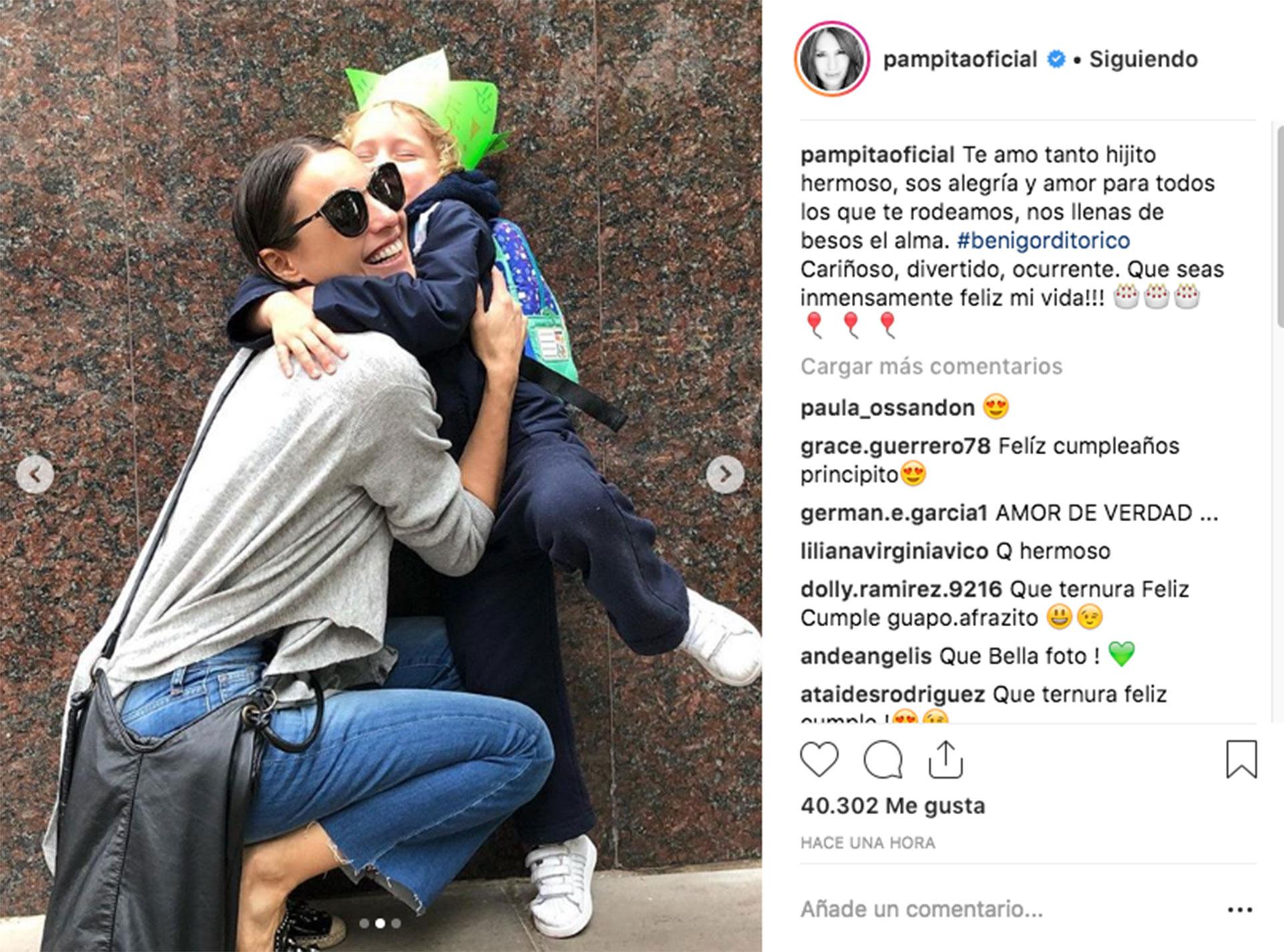 El posteo de Pampita en Instagram.