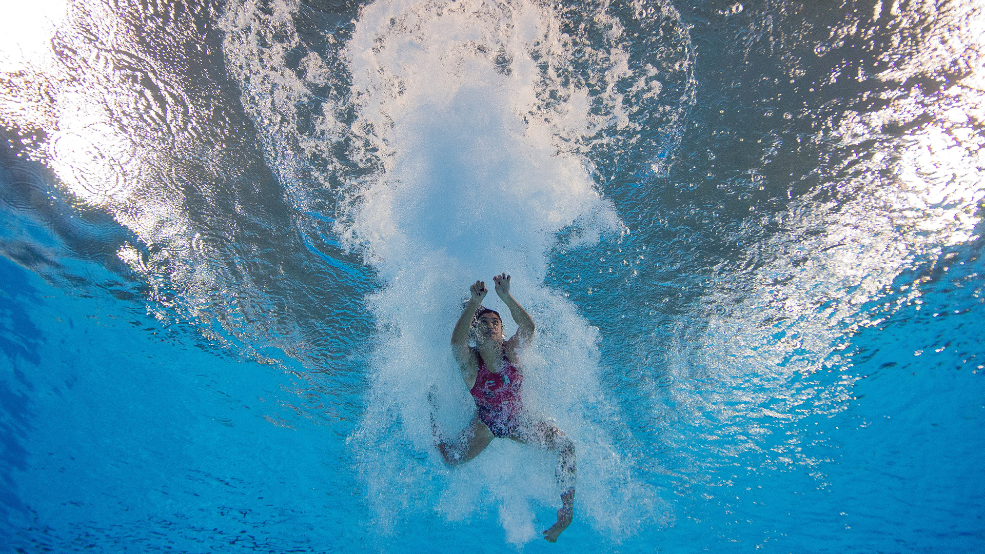 La mexicana Gabriela Belem Agundes Garciaen acción durante su prueba en el natatorio del Parque Olímpico (Foto:REUTERS)