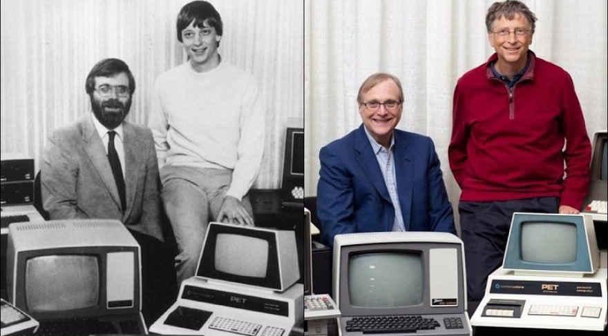 Paul Allen y Bill Gates en 1981, en una famosa foto que recrearon en 2013.