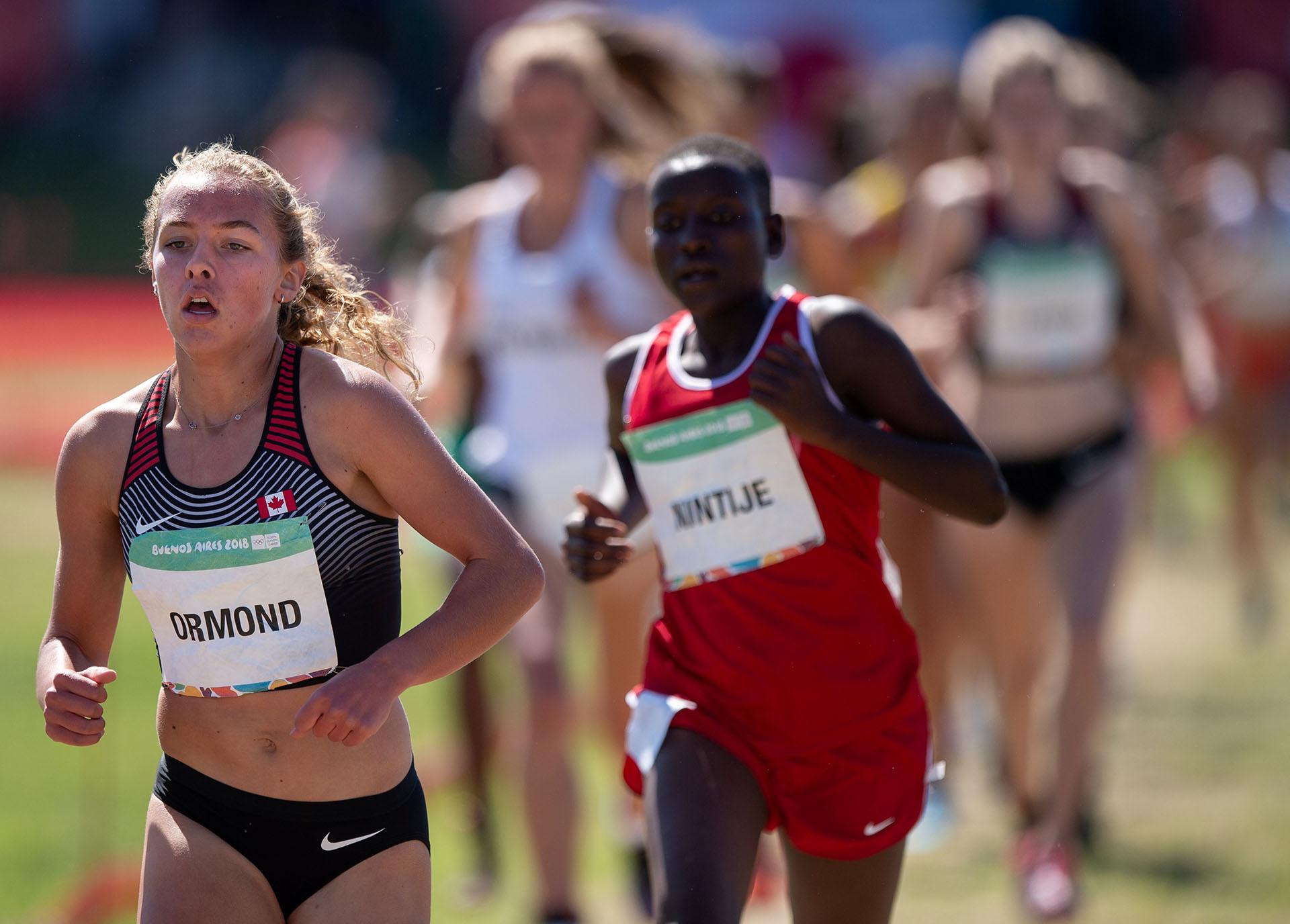 La canadiense Cameron Ormond, en la final de la prueba de Atletismo Femenino en el Parque Olímpico de la Juventud(REUTERS)