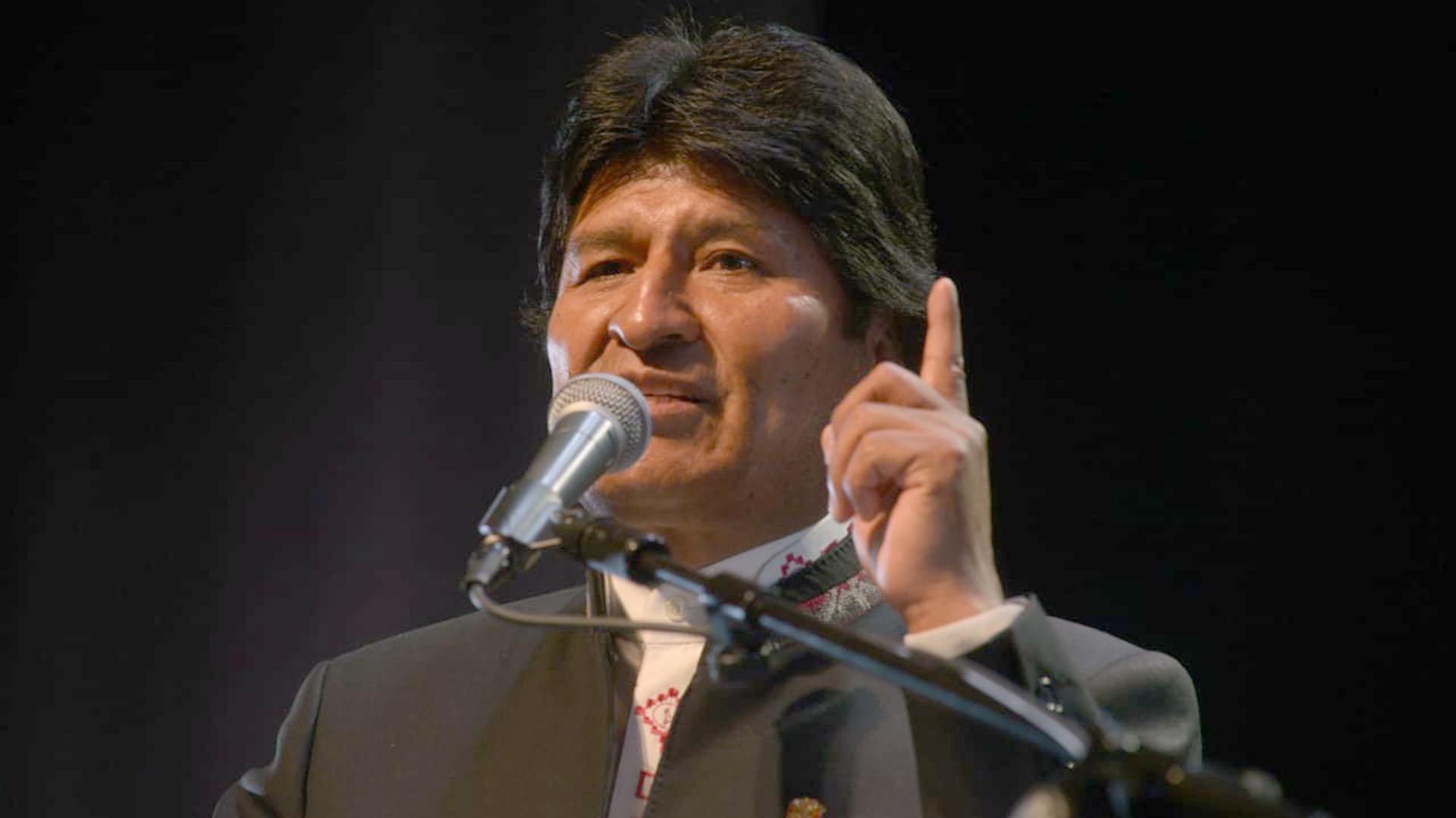 Evo Morales dio su discurso, en un acto colmado de dirigentes del kirchnerismo y militantes del FPV