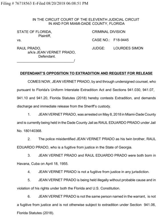 El documento presentado a la fiscalía por el abogado Meltz, y según el cual el hombre arrestado en Miami y el fugitivo de Georgia no eran la misma persona