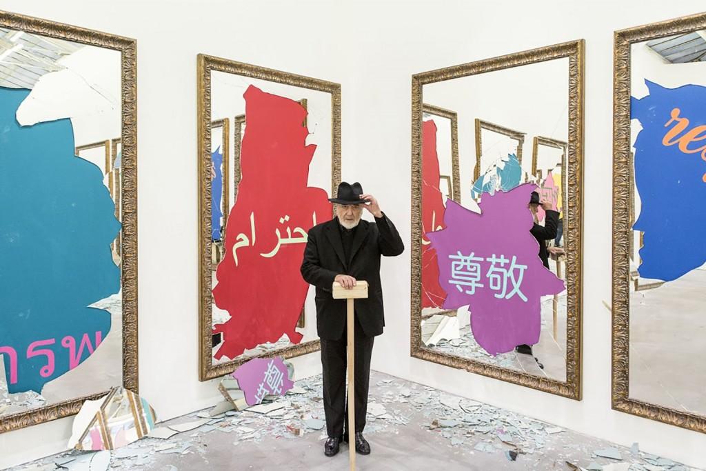 20 octobre 2016: 'Respect' exposition de Michelangelo Pistoletto à la galerie VnH avec la galleria Continua, Paris, France