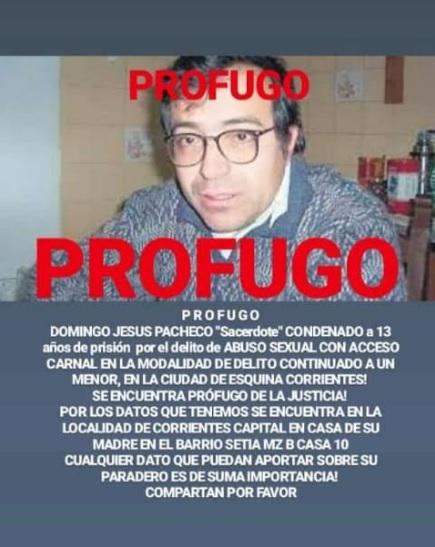El mensaje que el joven Osvaldo Ramírez difundió en las redes para que los correntinos colaboren con información sobre el paradero del cura Pacheco