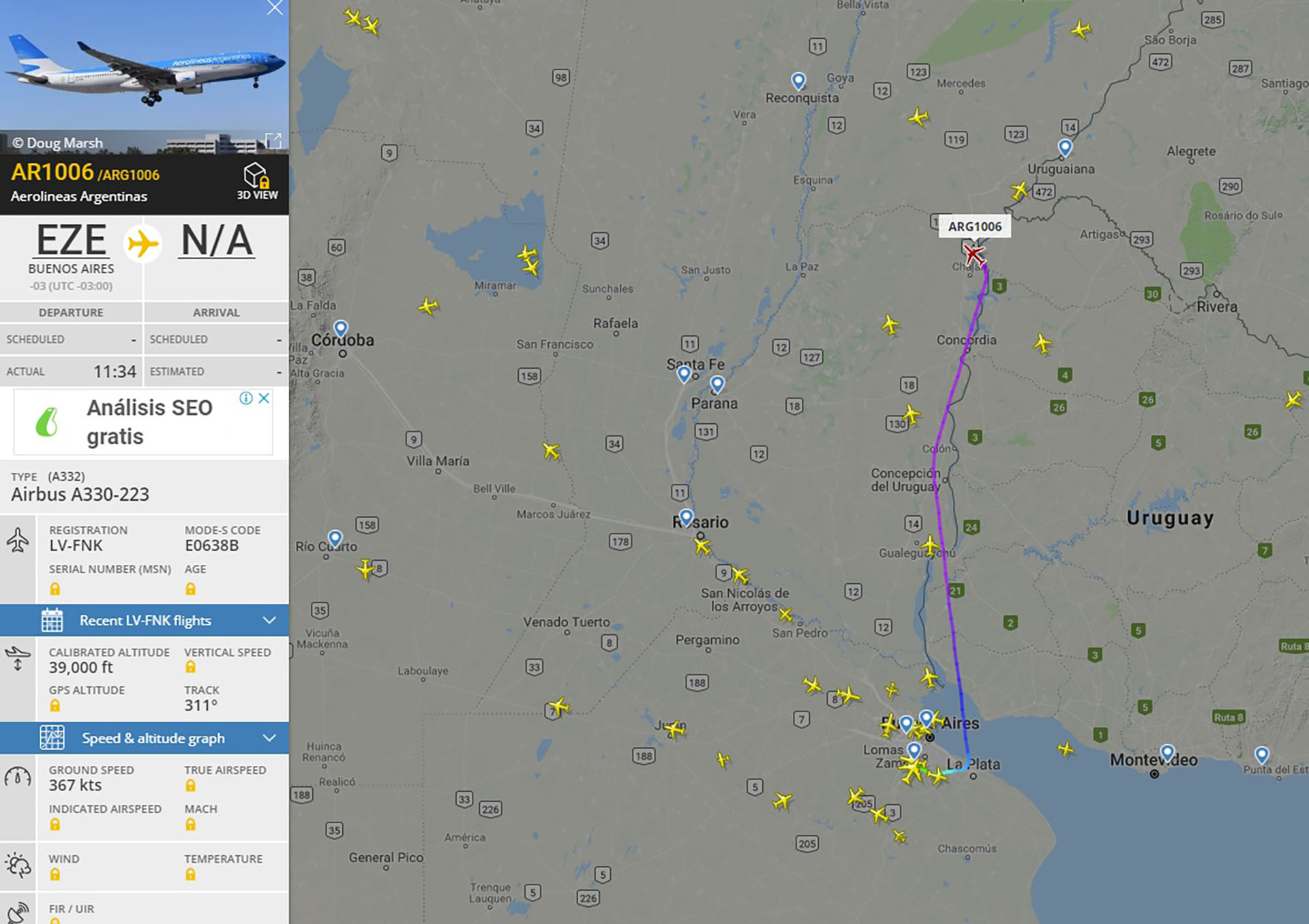 El avión partió a las 11:34 y dos horas después estaba de regreso en Ezeiza (imagencaptura:www.flightradar24.com)