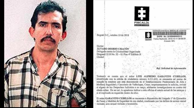 Izquierda: Luis Alfredo Garavito (imagen vía Wikimedia Commons). Derecha: Documento de la Fiscalía General de la Nación del 10 de octubre de 2018.