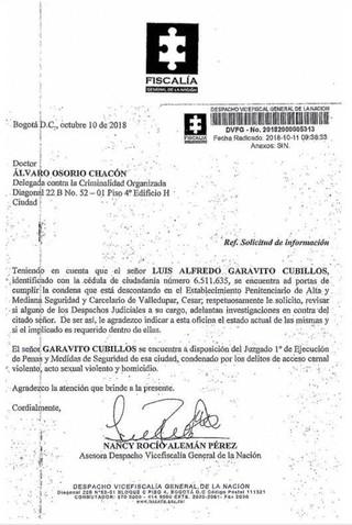 La imagen que anda rondando por redes sociales de la Fiscalía de Colombia