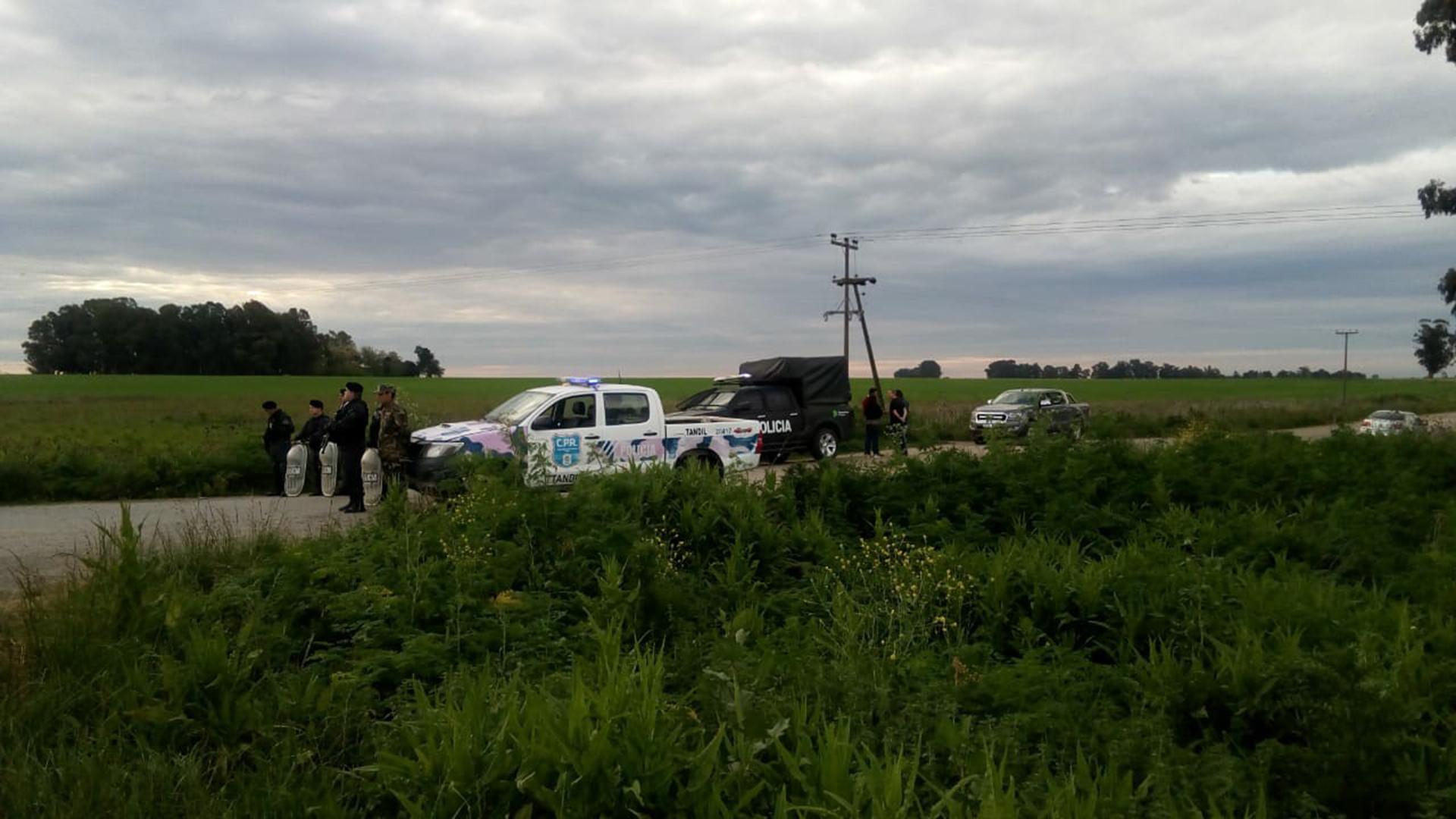 El lugar donde fue encontrado el cuerpo del joven en Tandil (ministerio de seguridad bonaerense)