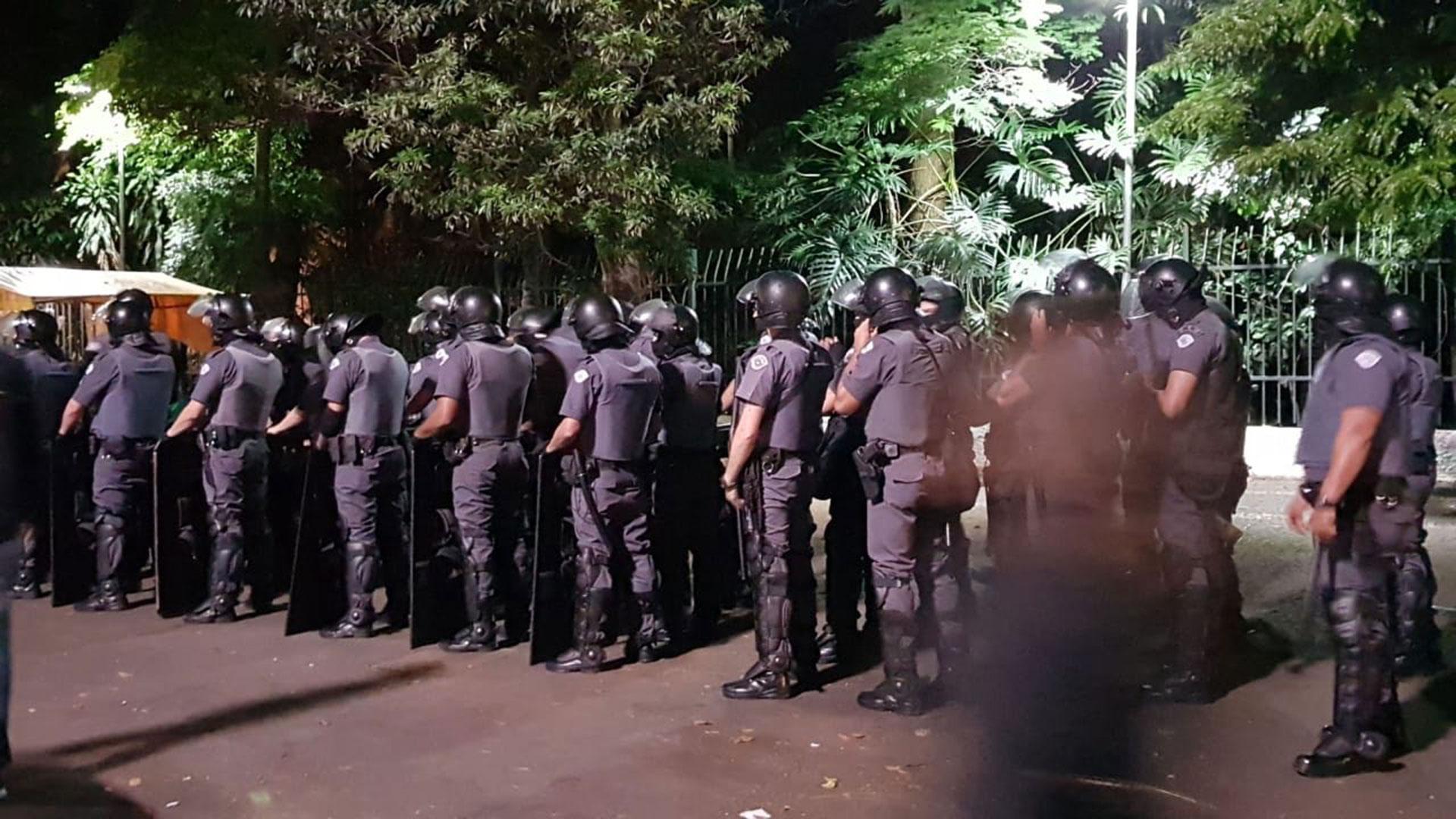 La manifestación en San Pablo se desarrolló en medio de un fuerte operativo de seguridad