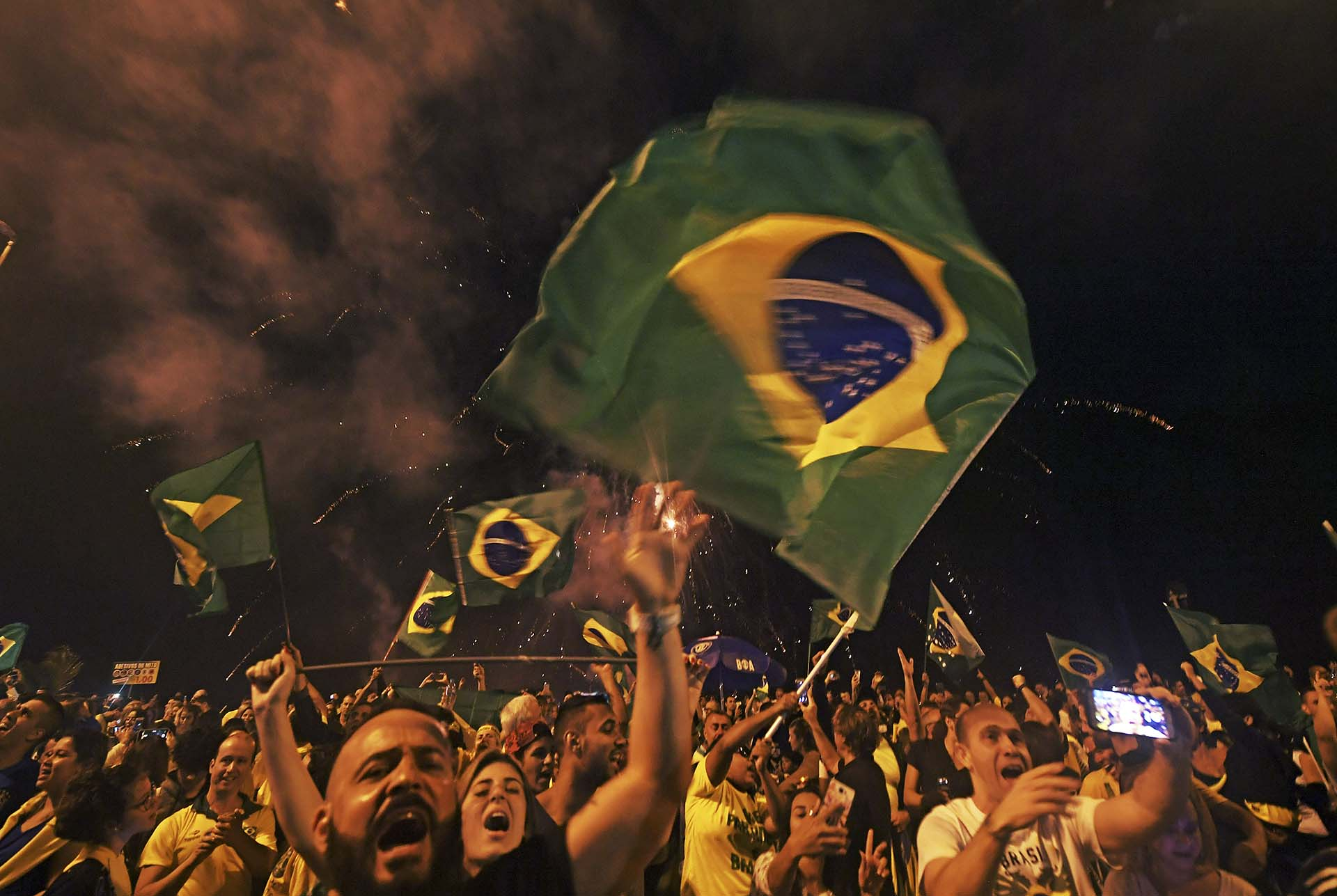 Río de Janeiro fue una de las ciudades donde más seguidores de Bolsonaro se movilizaron para festejar(Photo by Carl DE SOUZA / AFP)