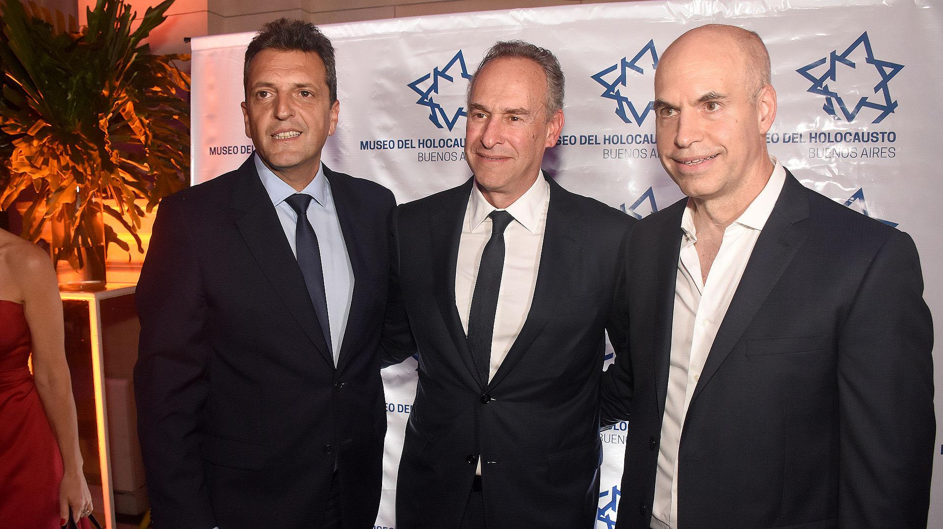 Sergio Massa, Marcelo Mindlin, presidente del Museo del Holocausto, y el jefe de Gobierno porteño, Horacio Rodríguez Larreta