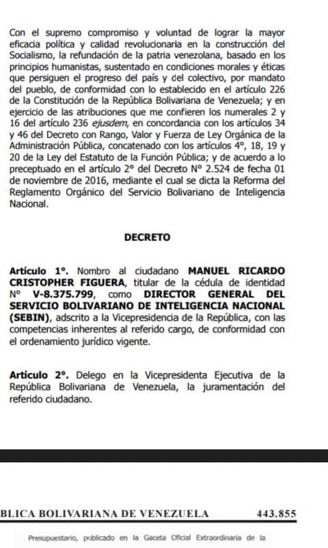 El nombramiento de Manuel Ricardo Cristopher Figuera en la Gaceta Oficial