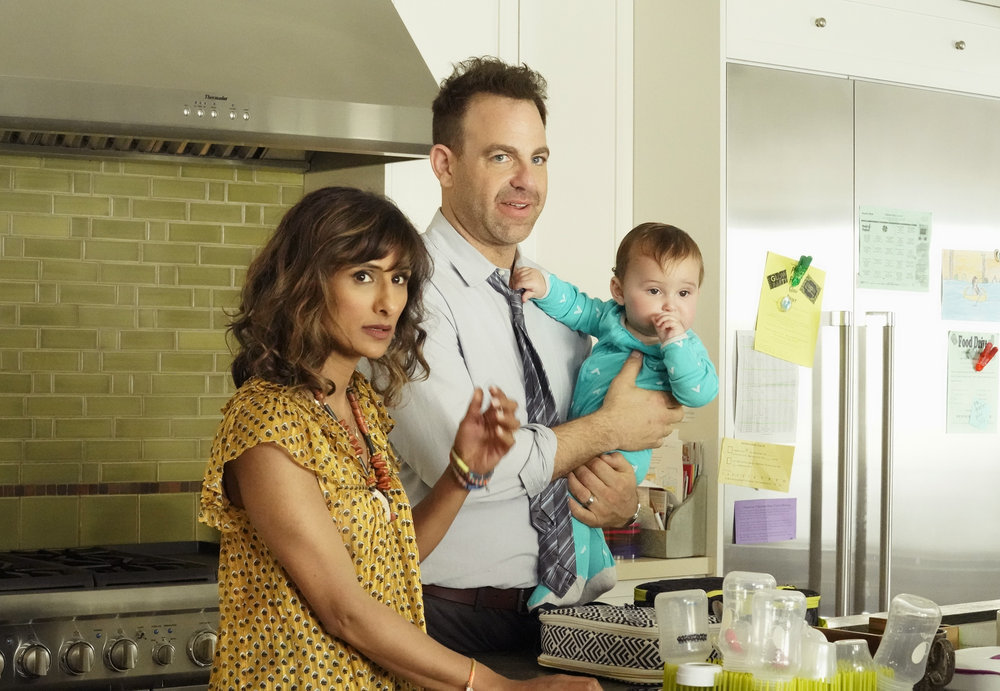 I FEEL BAD — Pilot — Pictured: (l-r) Sarayu Blue as Emet, Paul Adelstein as David — (Photo by: Evans Vestal Ward/NBC)