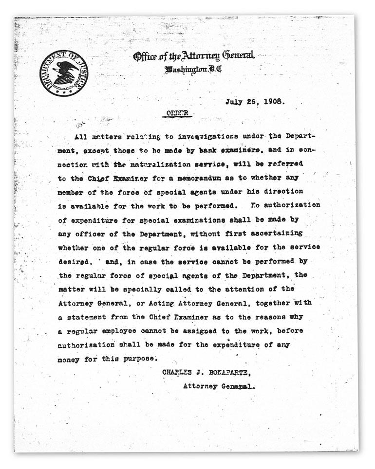 Una orden firmada por el fiscal general de Estado, Charles Joseph Bonaparte