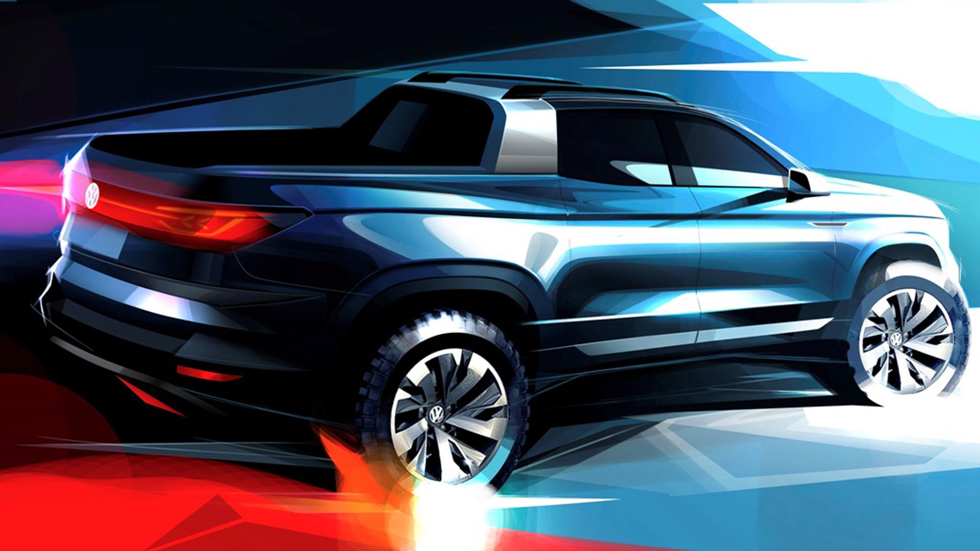 Boceto oficial de cómo será el concept que adelanta la futura pick up intermedia de Volkswagen. Foto: VW.