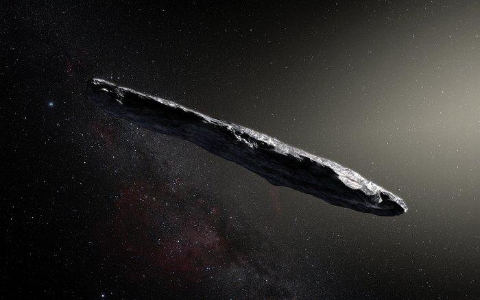 Una recreación artística de Oumuamua, un objeto de una clase nunca antes hallada en el Sistema Solar. (ESO/M. Kormesser)
