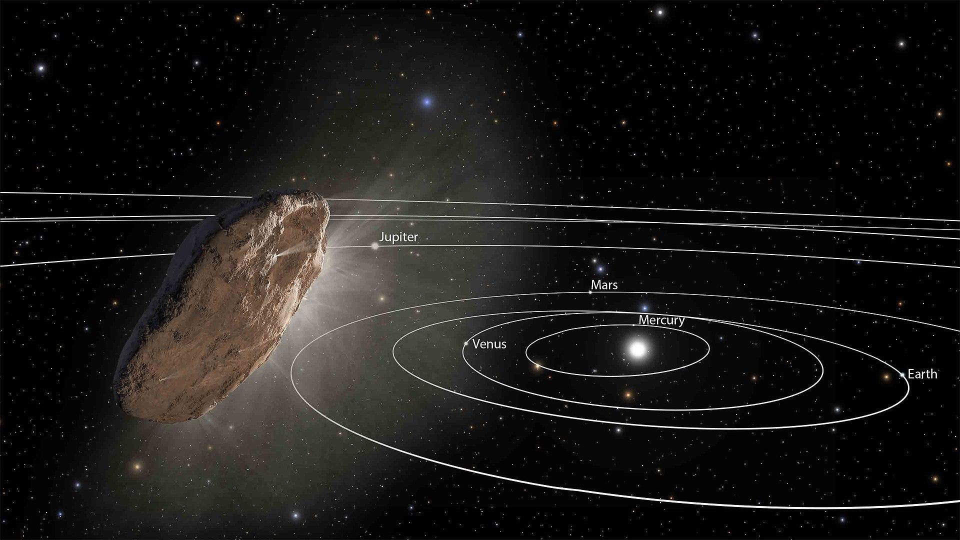 Otra recreación artística de Oumuamua, que podría ser una nave extraterrestre según una nueva investigación (NASA/ESA/STScI)