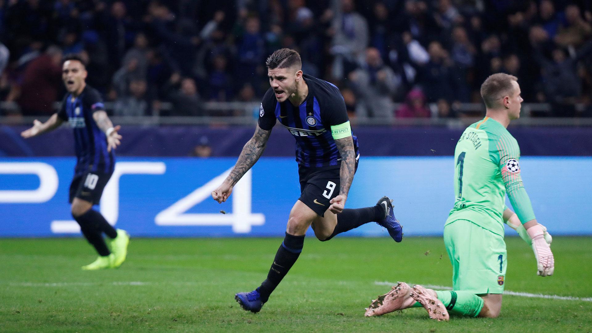 El gol que Icardi le marcó a Barcelona en la Champions League (Reuters)