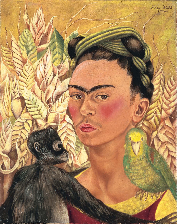 """""""Autorretrato con chango y loro"""", de Frida Kahlo"""