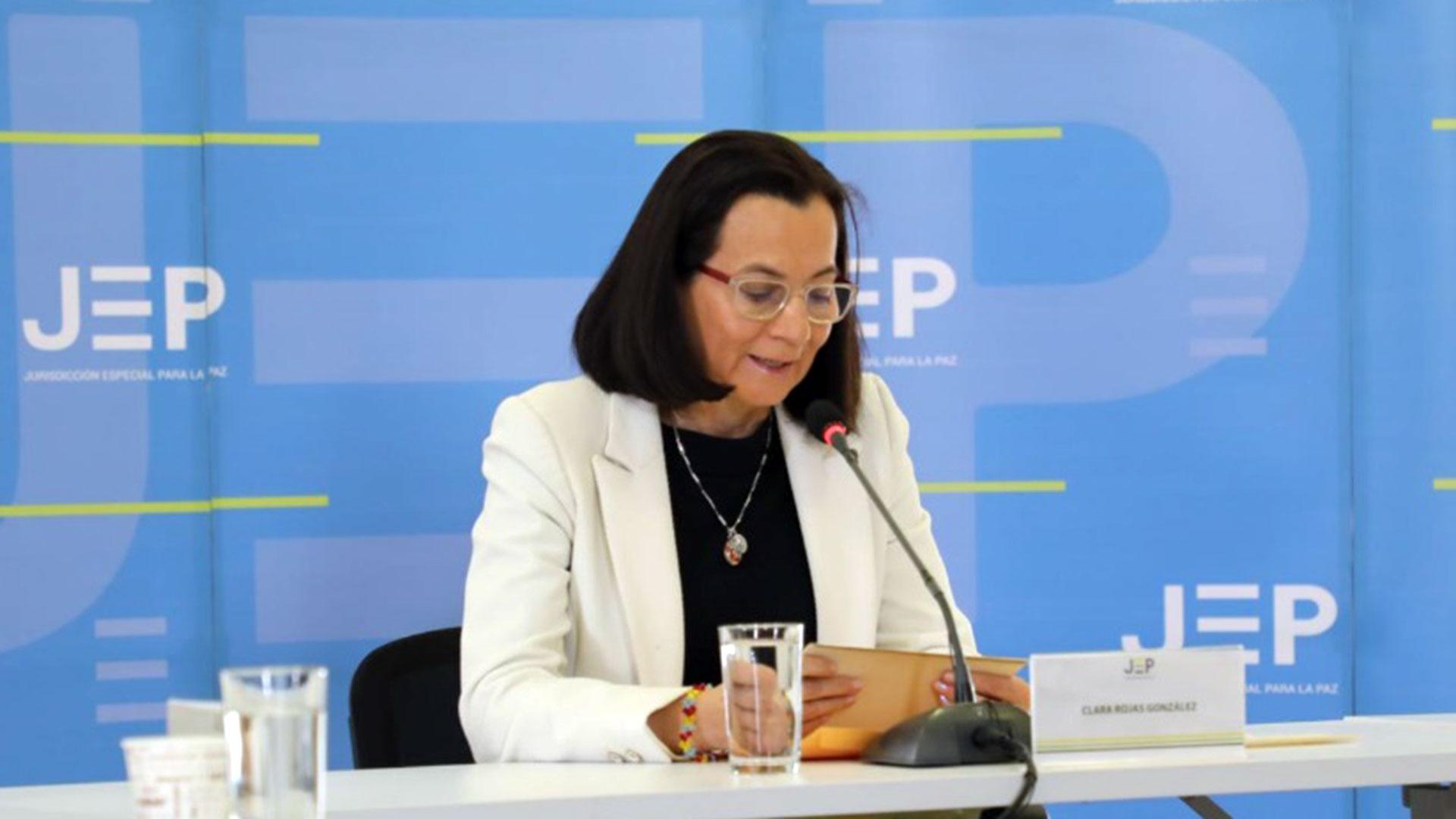 La exrepresentante del partido Liberal, Clara Rojas, durante sus declaraciones en la JEP.