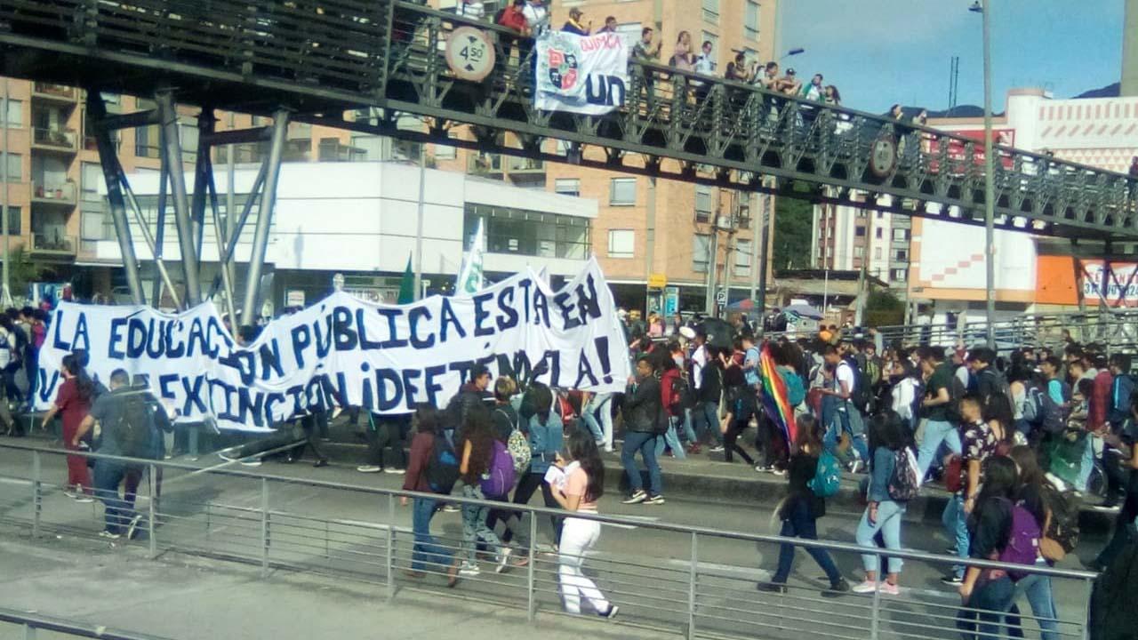 La marcha estudiantil en Bogotá (Gentileza: Noticias RCN)