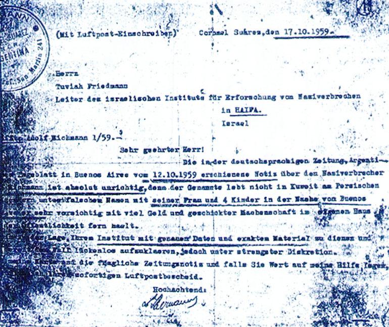 La carta de Lothar Hermann informando que Eichmann estaba oculto en la Argentina. La escribió el 17 de octubre de 1959, siete meses antes de la acción del Mossad
