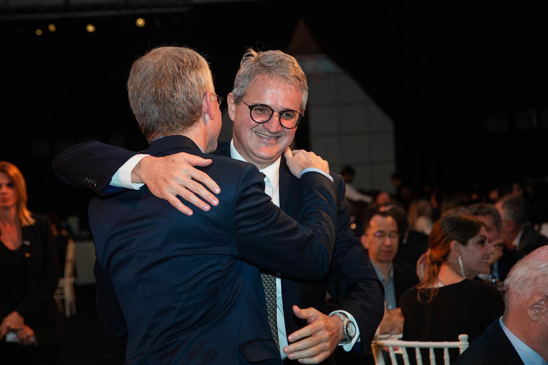 Ernesto Schargrodsky y el nuevo rector de la Universidad, Juan José Cruces