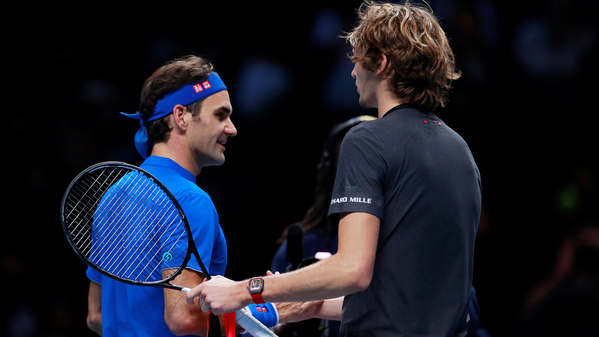 Tennis – ATP Finals – The O2, London, Britain – November 17, 2018 Germany's Alexander Zverev shakes hands with Switzerland's Roger Federer after winning his semi final match Action Images via Reuters/Andrew Couldridge