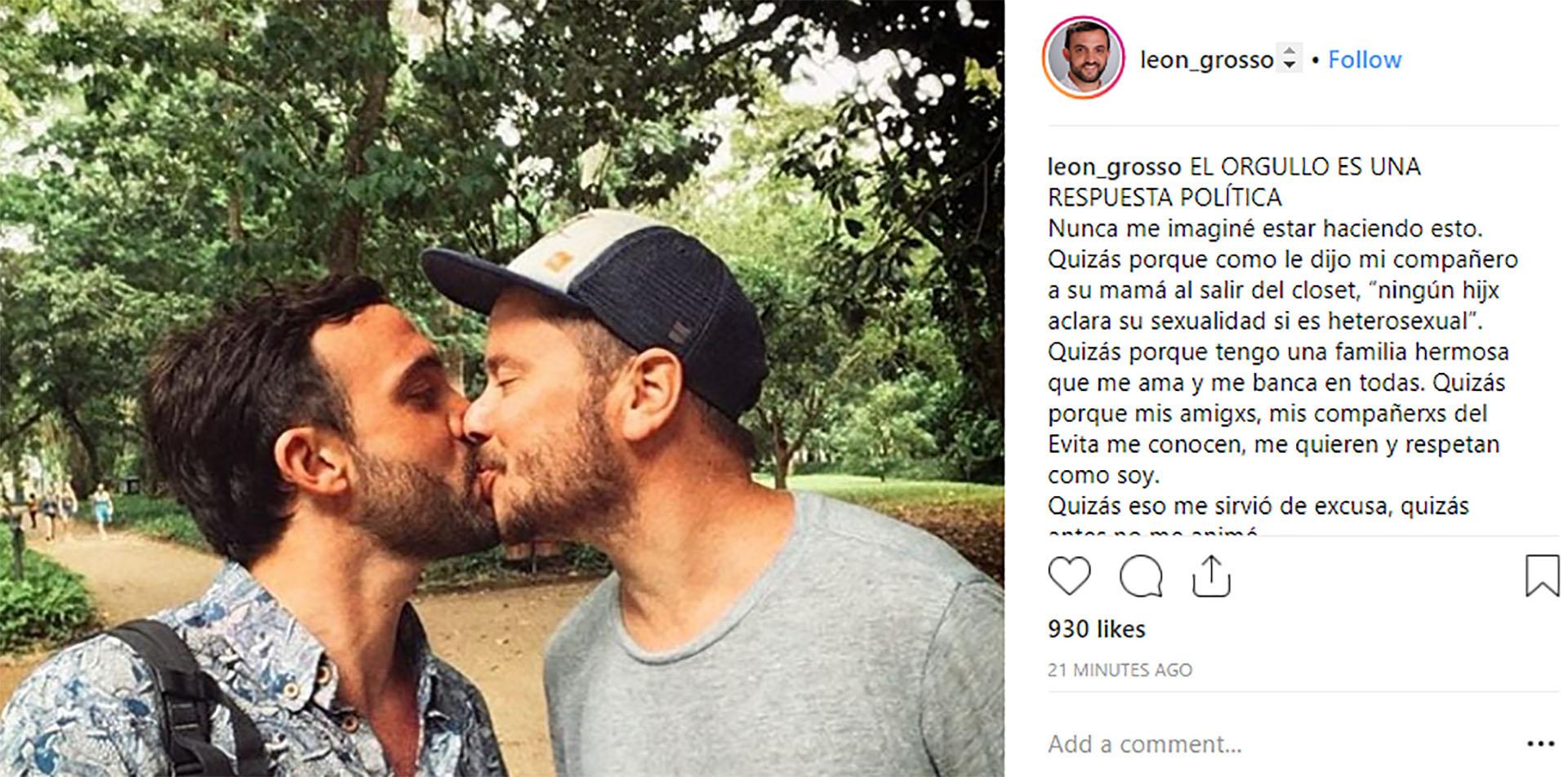 El posteo de Grosso cuando dio conocer que es gay (@leon_grosso)