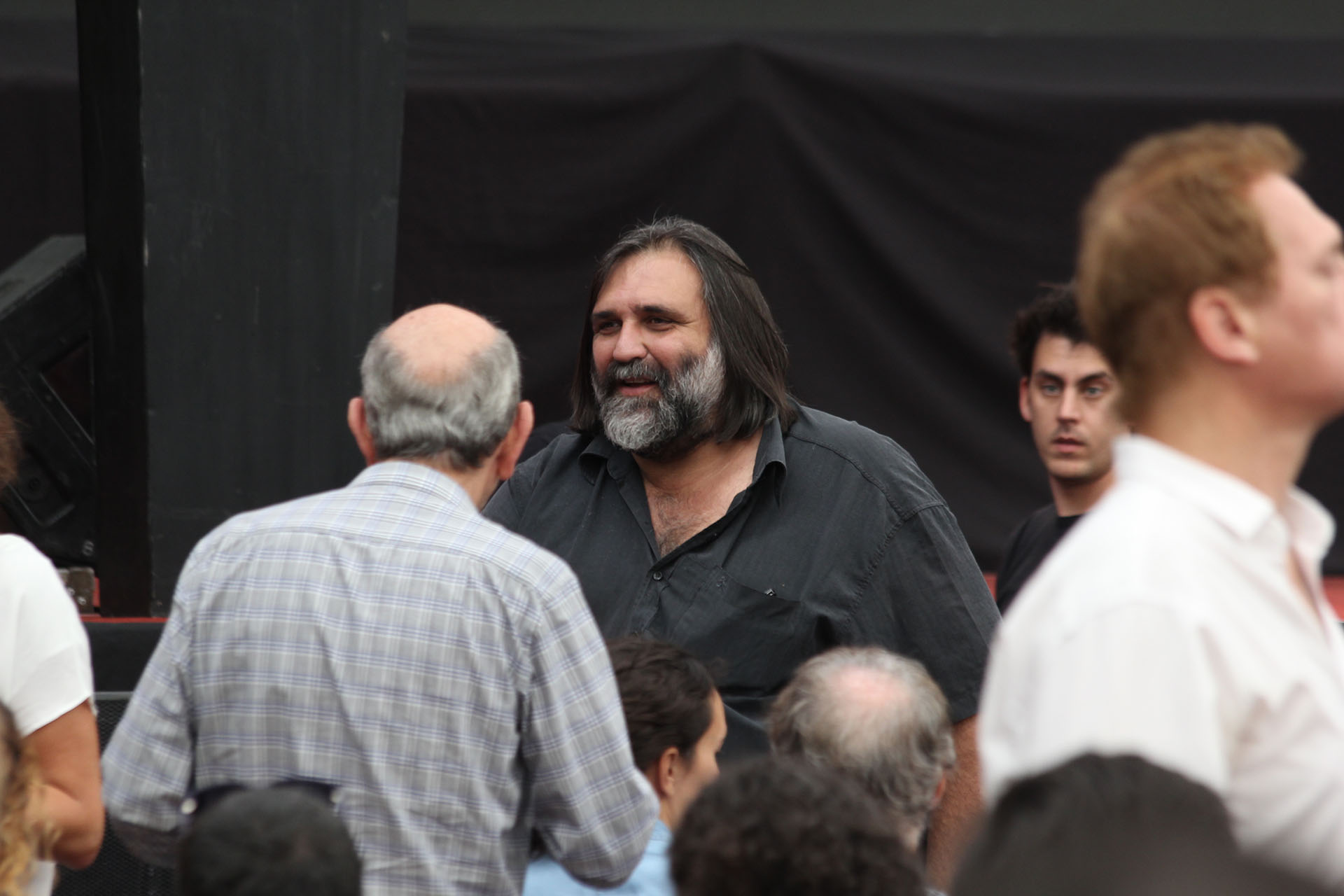 Roberto Baradel, del gremio docente SUTEBA, estuvo en Ferro junto a Dilma y Cristina (Matias Baglietto)