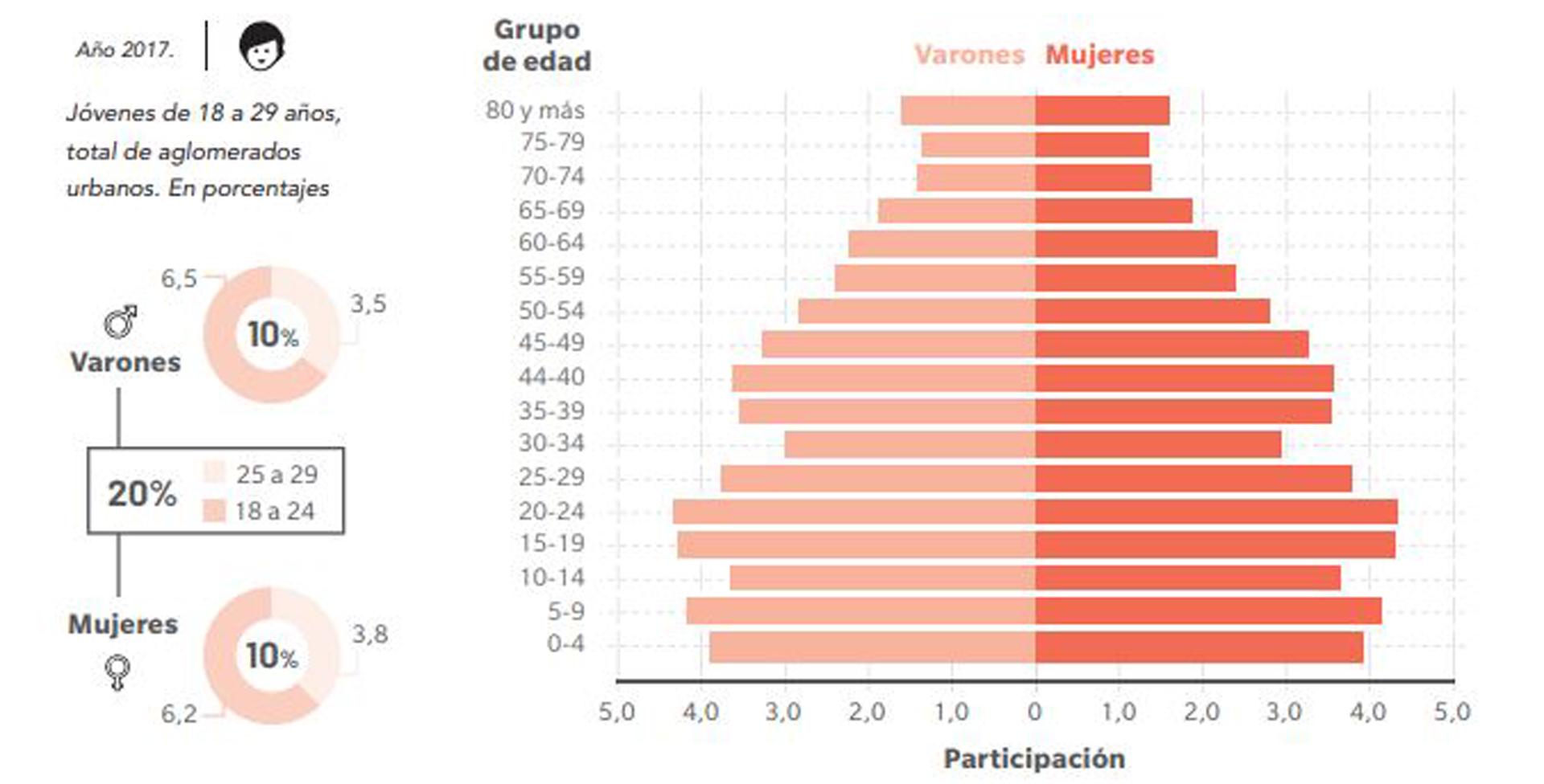 En la muestra, los varones de 18 a 24 años representaban el 6,5% de la población total, mientras que los de 25 a 29 años constituían el 3,5%. Por su parte, las mujeres de 18 a 24 años eran el 6,2% de la población y las de 25 a 29 años constituían el 3,8%. En términos de su composición socio-demográfica, dos tercios de los jóvenes pertenecen al tramo etario de 18 a 24 años, mientras que el tercio restante corresponde al grupo de 25 a 29 años.
