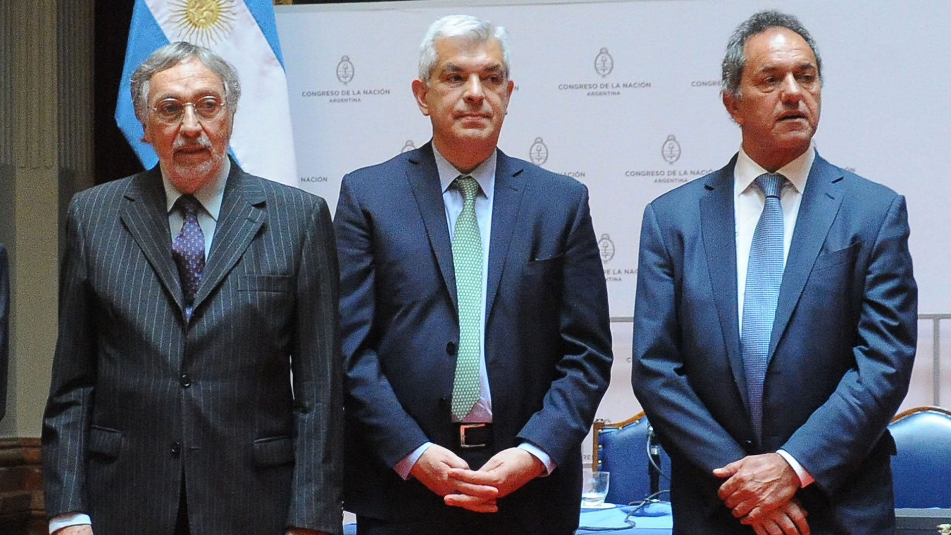 Luis Brandoni, Julián Domínguez y Daniel Scioli