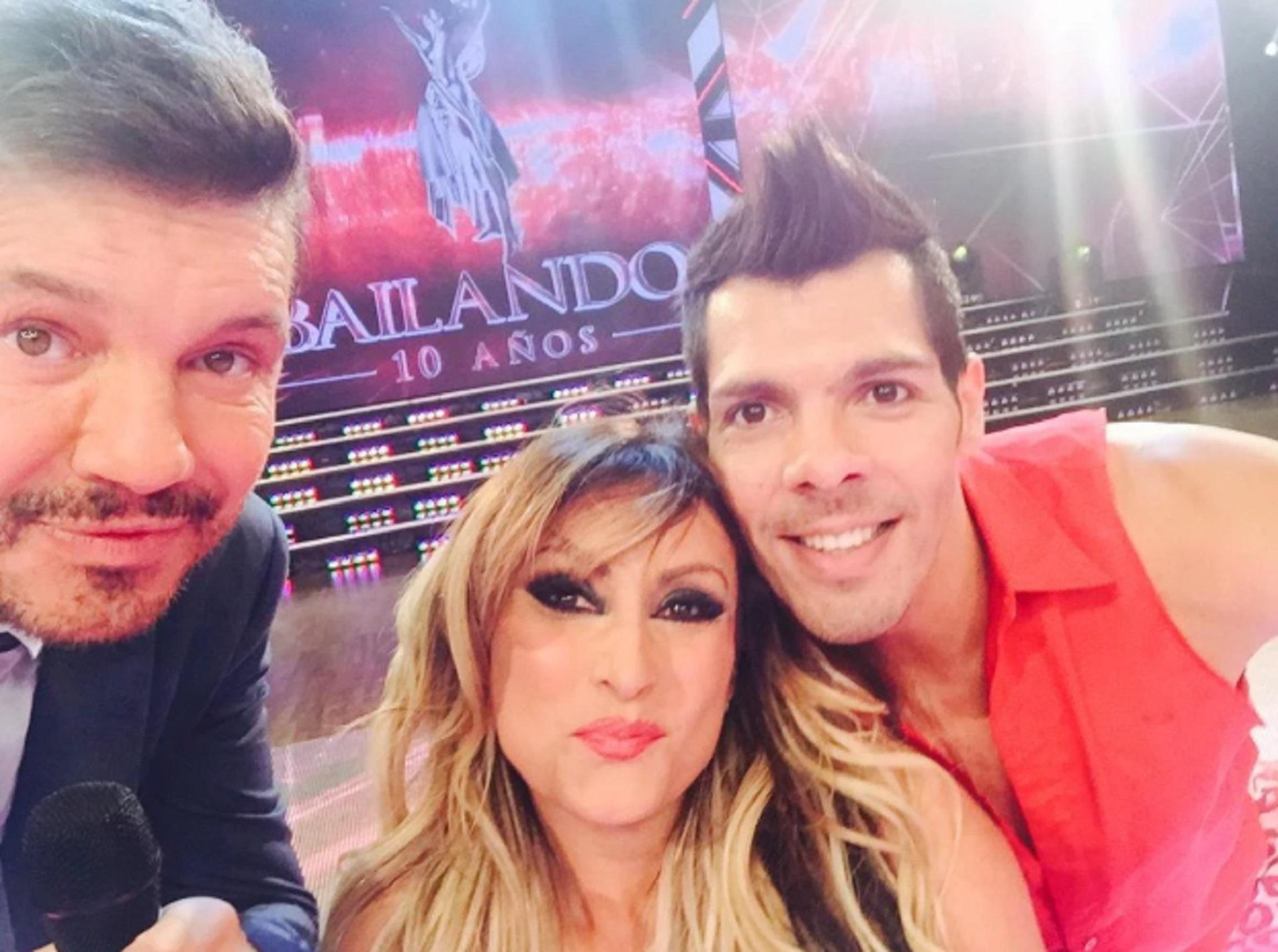 Tinelli y una selfie con Pier Fritzsche y Marcela Feudale