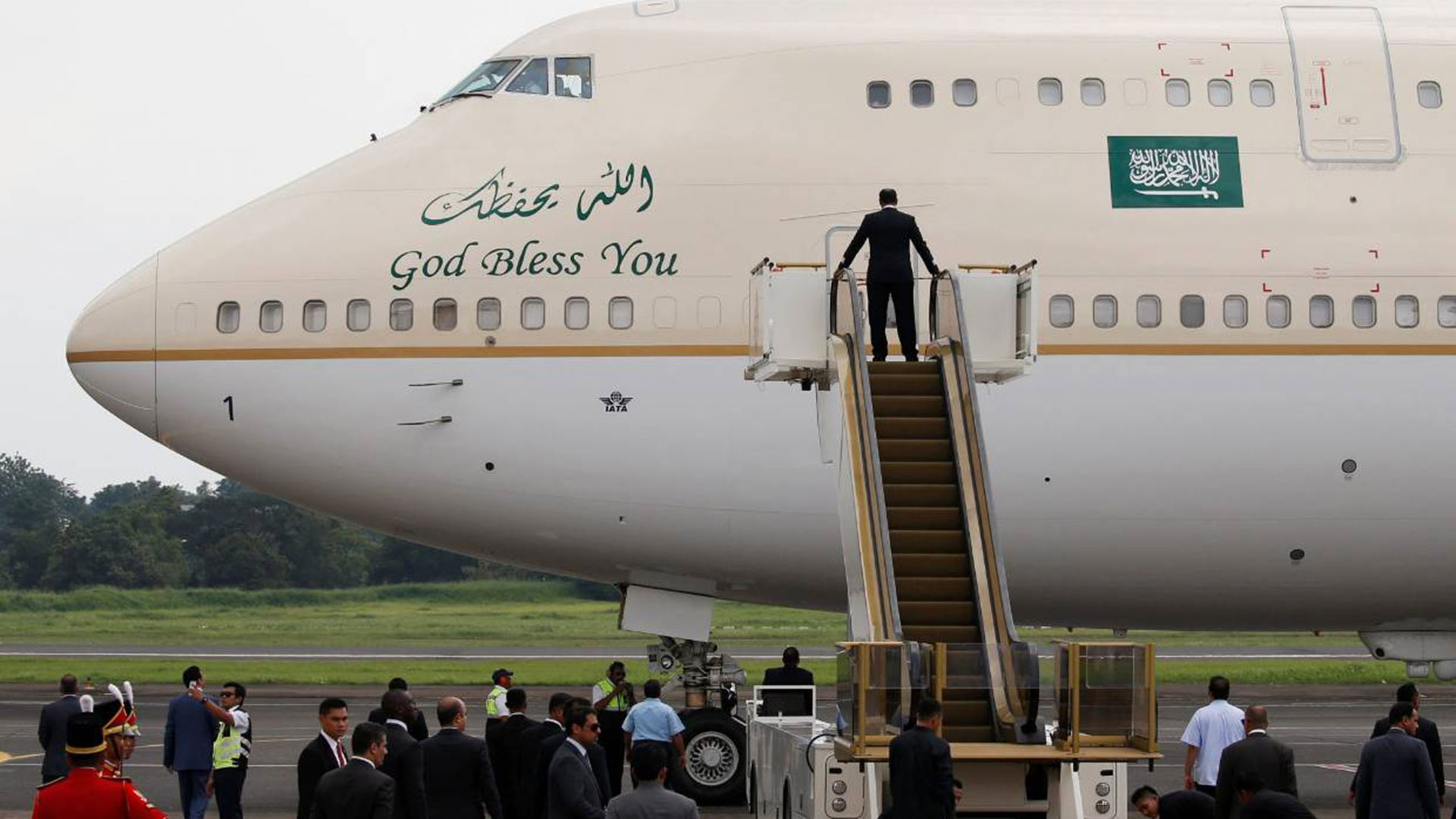 El Boeing 747-400 de la flota del gobierno saudita en el aeropuerto de Ezeiza