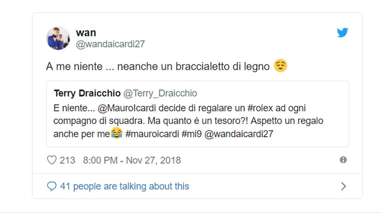 Regalo Icardi y reproche de Wanda - Tuit