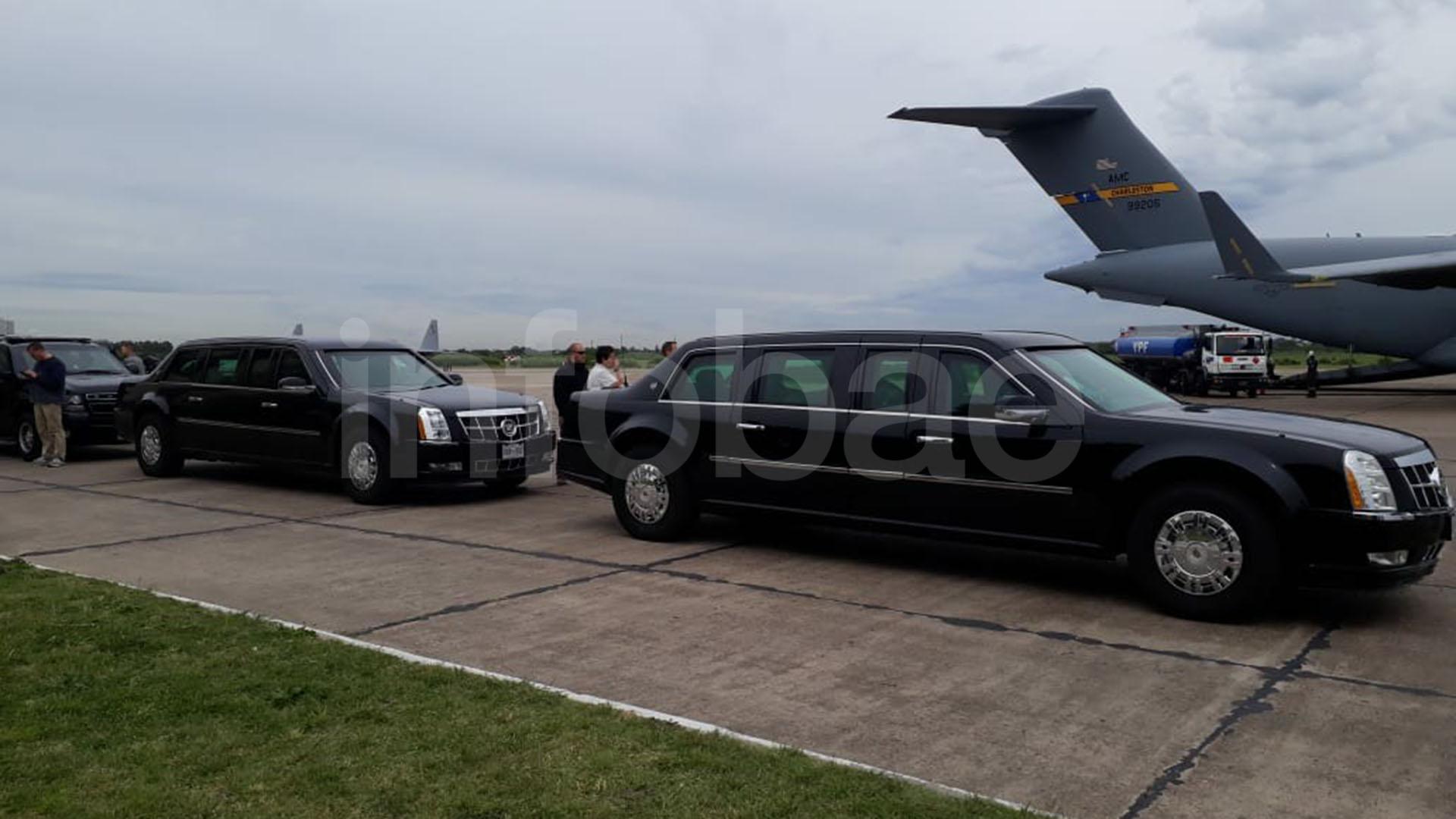 LosCadillacs que utiliza el presidente de EEUU para sus traslados por tierra (Foto: Infobae)
