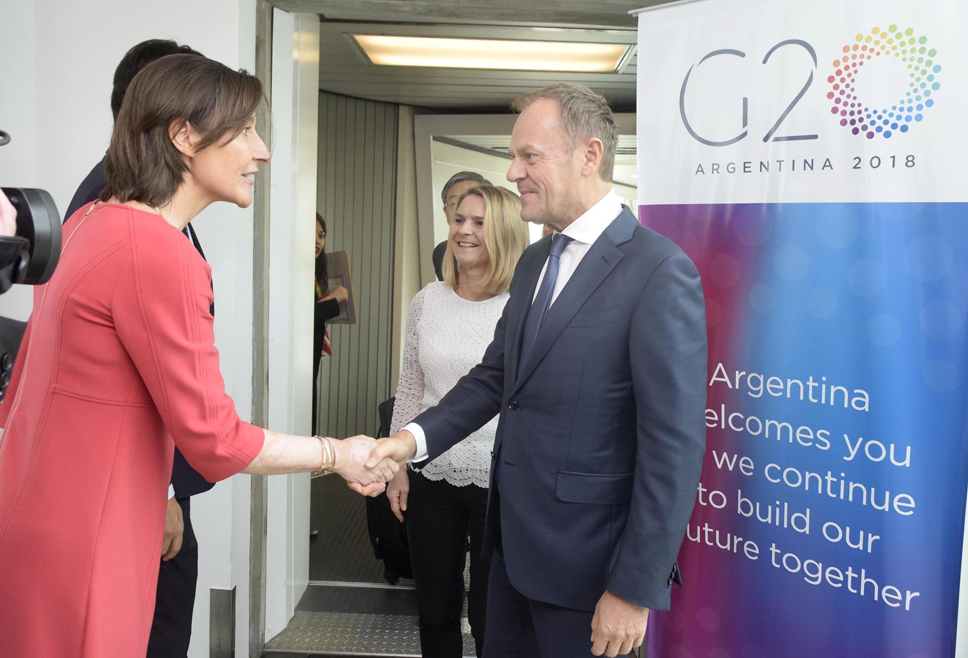 Aude Maio-Coliche, Jefa de la Delegación de la UE en Argentina, recibió a Donald Tusk, presidente del Consejo Europeo